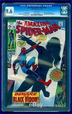 Amazing Spider-man 86 Cgc 9.6 White Origin Black Widow Tales Of Suspense 52