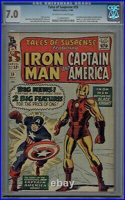 CGC 7.0 TALES OF SUSPENSE #59 1ST SOLO CAPTAIN AMERICA STORY SINCE THE 50'S OWithW