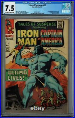 CGC 7.5 TALES OF SUSPENSE #77 OWithW PAGES 1ST APPEARANCE PEGGY CARTER & ULTIMO