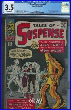 Cgc 3.5 Tales Of Suspense #45 Pepper Potts & Happy Hogan 1st Appearance Ow Pages