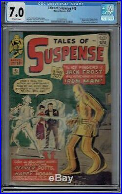 Cgc 7.0 Tales Of Suspense #45 1st Appearance Pepper Potts & Happy Hogan Ow Pages
