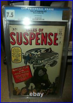 Marvel Comics 31 Tales of Suspense 7.5 CGC Great spine Proto type iron 1962