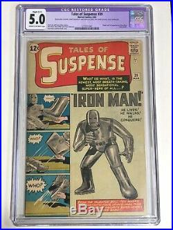 TALES OF SUSPENSE #39 CGC 5.0 1963 1st Iron Man Restored LOOKS GREAT! VG/FN