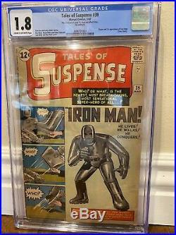 TALES OF SUSPENSE #39 (Iron Man 1st app. & origin) CGC 1.8 C/OW Marvel 1963