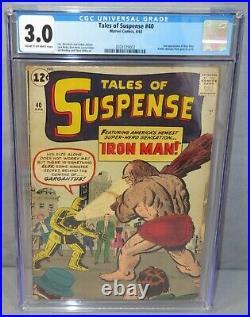 TALES OF SUSPENSE #40 Iron Man 2nd app, 1st Gold Armor CGC 3.0 GD/VG Marvel 1963