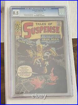 TALES OF SUSPENSE 42 CGC 8.5 Cream To Off White Pages IRON MAN RED BARBARIAN