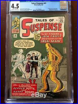 TALES OF SUSPENSE #45 CGC 4.5 (OF-WithW) 1ST APPEARANCE PEPPER POTTS HAPPY HOGAN