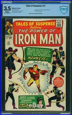 TALES OF SUSPENSE #57 CBCS/cgc 3.5 Origin & 1st Hawkeye! WHITE PAGES