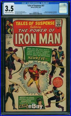 TALES OF SUSPENSE #57 CGC 3.5 Origin & 1st Hawkeye