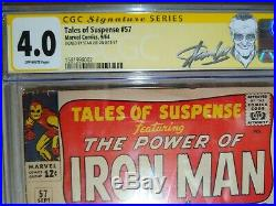 TALES OF SUSPENSE #57 CGC 4.0 SS Signed STAN LEE 1st Appearance HAWKEYE 1964