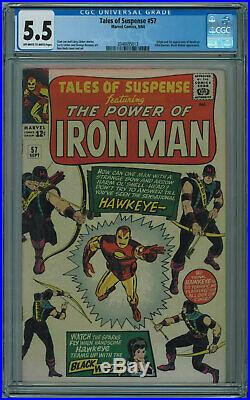 TALES OF SUSPENSE #57 CGC 5.5 1ST HAWKEYE OWithW PGS 1964