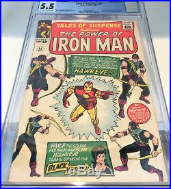 TALES OF SUSPENSE #57 CGC 5.5 OWithW Pages Silver Age Comic Book 1ST APP HAWKEYE