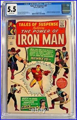 TALES OF SUSPENSE #57 CGC 5.5 Silver Age Comic Book 1ST APP HAWKEYE