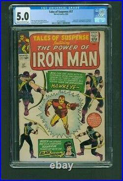 TALES OF SUSPENSE #57 (Hawkeye 1st app) CGC 5.0 VG/FN Marvel 1964 Iron Man