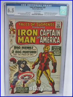 TALES OF SUSPENSE # 59 US MARVEL 1964 KIRBY 1st SA CAP A solo story CGC 6.5 FN+