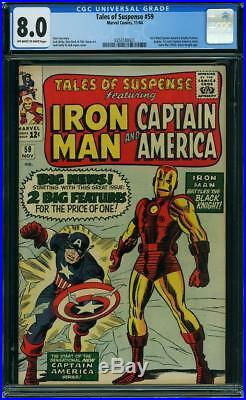 TALES OF SUSPENSE # 59 US MARVEL 1964 KIRBY 1st SA CAP A solo story CGC 8.0 VFN