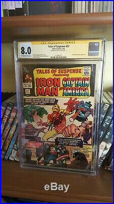 TALES OF SUSPENSE #67 CGC 8.0 OWithW-SIGNED STAN LEE! KIRBY ART! RED SKULL/HITLER