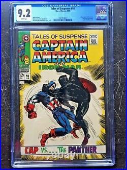 TALES OF SUSPENSE #98 CGC NM- 9.2 White pg! Captain America vs. Black Panther