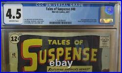 TALES of SUSPENSE #40, CGC 4.5, 2nd App of IRON MAN! STAN LEE Story! 1963