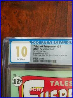 Tales Of Suspense #39 Silver Foil Cgc 10 Mint First Release First App Iron Man