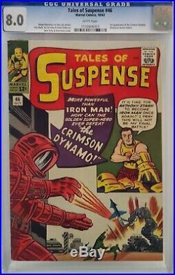 Tales Of Suspense #46 Cgc 8.0 Iron Man 1st Crimson Dynamo White Pages