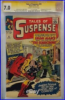 Tales Of Suspense #51 Cgc 7.0 Ss Signed Stan Lee Iron Man 1st Scarecrow