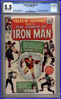 Tales Of Suspense 57 CGC Graded 5.5 FN- 1st Hawkeye Marvel Comics 1964