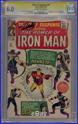 Tales Of Suspense #57 Cgc 6.0 Ss Signed Stan Lee 1st Hawkeye Iron Man
