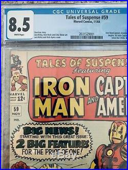 Tales Of Suspense #59 Captain America Iron Man Cgc 8.5 White Pages