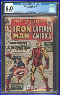 Tales Of Suspense 59 Cgc 6.0 11/64 Iron Man Captain America 1st Solo Since 1950