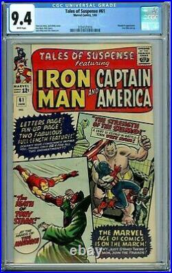 Tales Of Suspense 61 Cgc 9.4 Wp New Non-circulated Case Captain America Iron Man