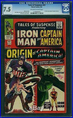 Tales Of Suspense 63 Cgc 7.5 Oww Origin Captain America