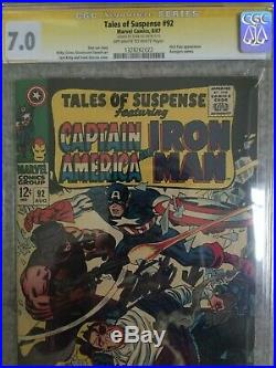 Tales Of Suspense #92 8/67 CGC SS 7.0 Stan Lee Signed 9/11/15 Captain America