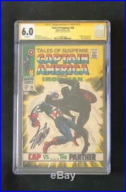 Tales Of Suspense #98 Cgc 6.0 Ss Signed Stan Lee Cap Vs Black Panther Key 39 1