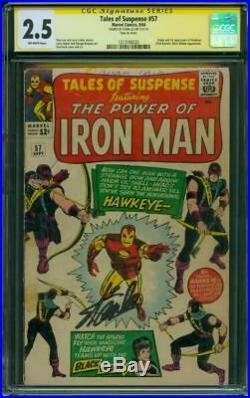 Tales Suspense 57 CGC 2.5 SS Stan Lee Sign 1st Hawkeye Iron Man Lieber art 1964