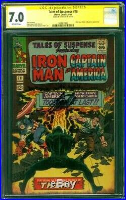 Tales Suspense 78 CGC 7.0 SS Stan Lee 1st Captain America Nick Fury Team Up 1966