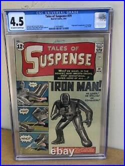 Tales of Suspense #39 CGC 4.5 1st Iron Man! Avengers! 2140354002 clean 1963