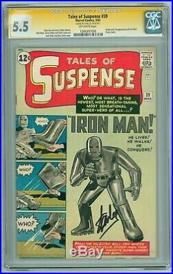 Tales of Suspense # 39 CGC 5.5 Stan Lee Signature Origin 1st Iron Man 1044397005