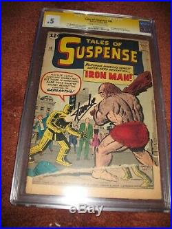 Tales of Suspense #40 Signed by STAN LEE (Marvel 1963) CGC 0.5 2nd Iron Man