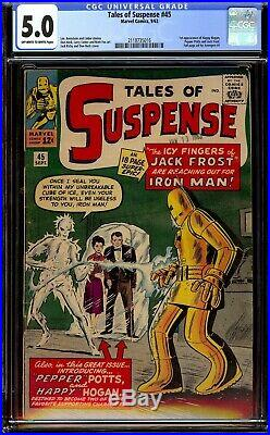 Tales of Suspense #45. CGC 5.0 VGF. First Happy Hogan, Pepper Potts, Jack Frost