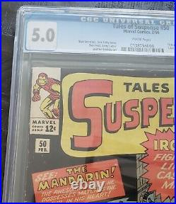 Tales of Suspense #50 CGC 5.0 Key Silver Age White Pages 1st App. Of Mandarin