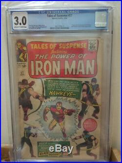 Tales of Suspense #57 CGC 3.0 Marvel 1964 Iron Man, Origin 1st App Hawkeye