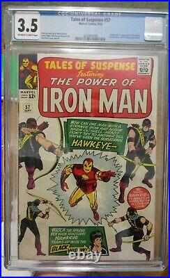 Tales of Suspense #57 CGC 3.5 OWithW 1st Appearance of Hawkeye + 3rd Black Widow