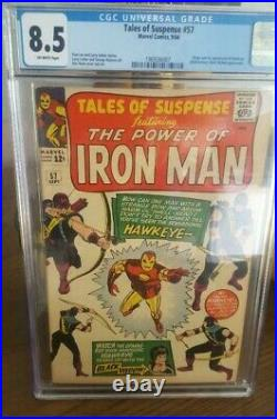 Tales of Suspense #57 (Marvel, 1964) CGC VF+ 8.5 Off-white pages KEY 1ST Hawkeye