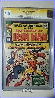 Tales of Suspense #58 CGC 6.0 SS signed STAN LEE 1964 Iron Man vs Capt America