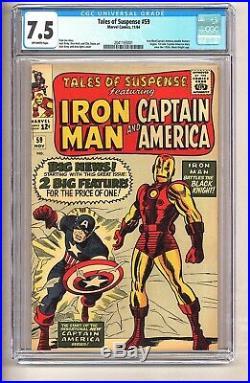 Tales of Suspense 59 (CGC 7.5) O/W Iron Man/Cap double feature begins (c#26165)