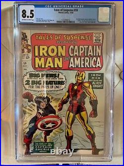 Tales of Suspense #59 CGC 8.5 1st Capt America Silver Age Solo Story -Marvel