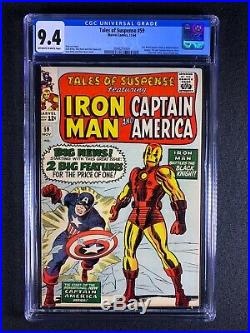 Tales of Suspense #59 CGC 9.4 (1964) Iron Man & Captain America double begins