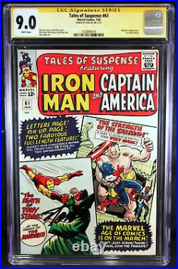 Tales of Suspense 61 CGC 9.0 SS by STAN LEE Captain America Iron Man WHITE PAGES