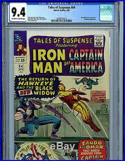 Tales of Suspense #64 CGC 9.4 Marvel Comics 1965 1st Black Widow Costume K9
